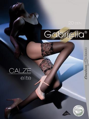 Чулки Gabriella Calze EliteЧулки 20 ден Gabriella Calze Elite. Тонкие, деликатно прозрачные чулки с добавлением лайкрового волокна. Изящная кружевная коронка с двойной силиконовой поддержкой. Прозрачный формованный мысок.<br>