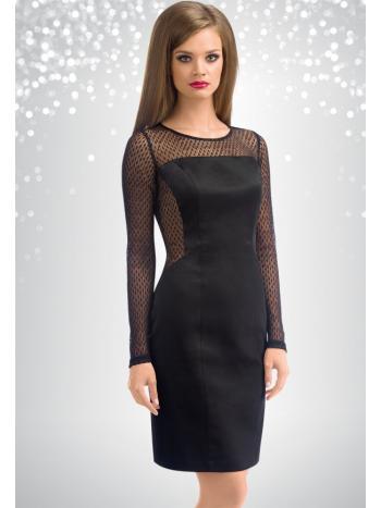 Платье Pelican FWDJ0804Платье с прозрачными рукавами Pelican FWDJ0804. Обворожительное платье-футляр идеально подойдет для вечернего выхода. Модель выполнена из плотного материала, на спине потайная молния, рукава и боковые части выполнены из полупрозрачной сеточки с рисунком, что придает модели изюминку. Платье имеет длину выше колена, сзади имеется небольшой разрез.<br>