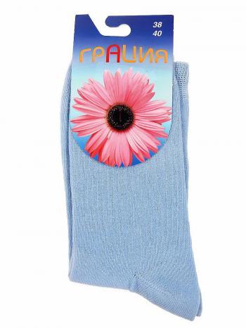 Носки Грация H-003Носки женские Грация H-003. Классические всесезонные женские носки из комфортного хлопкового трикотажа. В верхнейчасти изделие украшено рисунком с изображением цветочка.<br>
