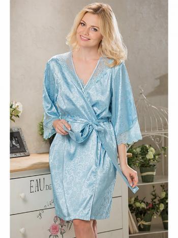 Халат Mia-Mia 9613Халат Mia-Mia 9613. Нежный халат-кимоно выполнен из искусственного шелка на жаккардовой основе. Борта и низ рукавов халата оформлены ажурным кружевом.<br>