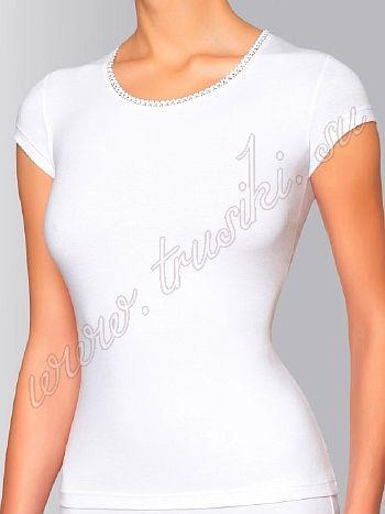 Футболка Innamore BD 23151Майка Innamore BD 23151. Эффектная футболка из хлопка с круглым вырезом на груди и укороченными рукавами. Облегающий силуэт маечки подчеркнет стройность и изящность вашей фигуры.<br>