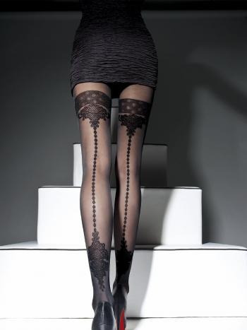 Колготки Fiore AprielКолготки 40 ден Fiore Apriel. Оригинальная модель с имитацией чулок. Модель будет великолепно смотреться с коротким платьем или юбкой, ваши ножки станут еще изящнее и стройнее. Колготки без трусиков, с плоскими швами.<br>