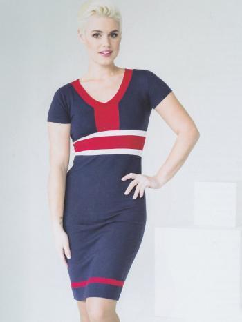 Платье Vis-A-Vis 14-033 DПлатье Vis-A-Vis 14-033 D. V-образный вырез горловины отлично сочетается с контрастными геометрическими вставками. Длина платья до колена, рукава короткие. Мягкая эластичная ткань подарит чувство комфорта, а облегающий крой красиво подчеркнет силуэт.<br>