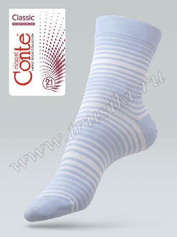 Носки Conte 7С-65СПНоски женские Conte 7С-65СП. Классические всесезонные носочки из хлопкового трикотажа в горизонтальную полоску.<br>