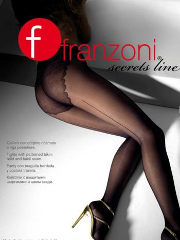 Колготки Franzoni Secrets Line 20Колготки 20 ден Franzoni Secrets Line. Эффектные колготки с кружевными шортиками и декоративным швом сзади. Модель с хлопковой ластовицей и усиленной пяточкой.<br>