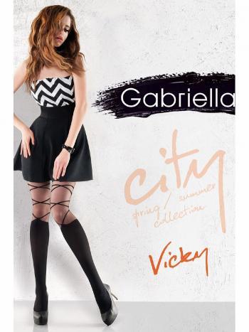 Колготки Gabriella Vicky 20Оригинальные фантазийный колготки Gabriella Vicky плотностью 20 ден изготовлены из лайкры, вдвойне оплетенной полиамидом. Плоский шов, без трусиков, хлопковая ластовица, невиимый мысок.<br>