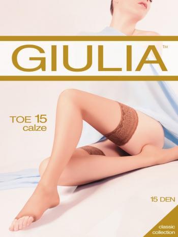 Чулки Giulia Toe 15Чулки Giulia Toe Calze плотностью 15 ден. Тонкие самоподдерживающиеся чулки на силиконе с кружевной резинкой и открытыми пальчиками.<br>