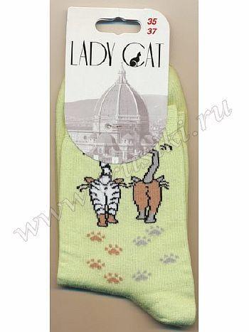 Носки Грация М-3002Носки женские Грация М-3002. Классические всесезонные носочки из хлопка с цветным рисунком сбоку, изображающим двух кошек. Уплотненный мысок и пяточка, удобная резинка.<br>