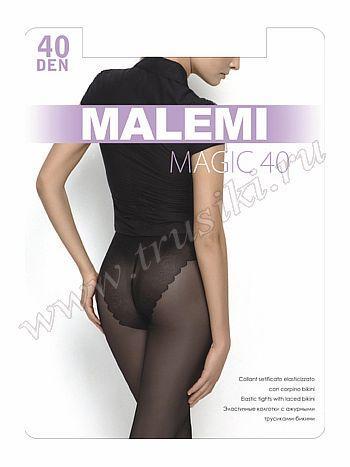 Колготки Malemi Magic 40Колготки 40 ден Malemi Magic. Эластичные колготки с ажурными трусиками-бикини, комфортным поясом, гигенической ластовицей и укрепленным прозрачным мыском.<br>