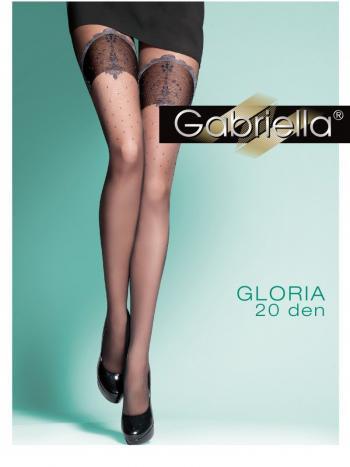 Колготки Gabriella GloriaЭксклюзивные колготки Gabriella Gloria изготовлены из пряжи&amp;nbsp; Lycra вдвойне оплетённой полиамидом. Плотность изделия 20 ден. Сзади и спереди на ткани очень красивый рисунок в виде резиночки чулков. Необычные колготки будут замечательно смотреться и обязательн понравяться Вам!<br>