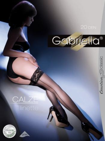 Чулки Gabriella Linette CalzeЧулки 20 ден Gabriella Linette Calze. Модель с декоративным швом сзади. Чулки имеют прозрачный носочек, на кружевной резиночке двойная силиконовая поддержка, для фиксации модели на ножке.<br>