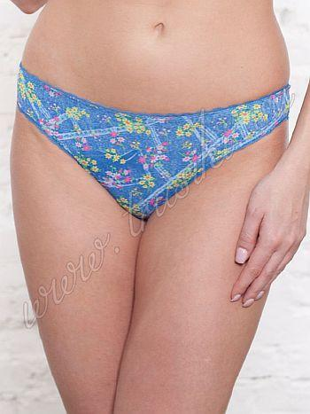 Трусики Vis-A-Vis DL 0386Трусики стринг Vis-A-Vis DL 0386. На трусиках принт под джинсу, яркие цветочки делают модель не скучной. Контур модели украшен ажурной резиночкой.<br>