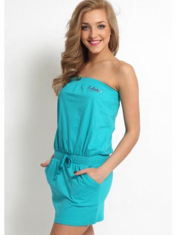 Платье Clever 243090Платье Clever 243090. Тонкое открытое платье бандо, сверху на эластичной резинке. На поясе пришита также широкая резинка и завязки. От линии талии платье короткое, по бокам 2 кармана. Платье хлопковое, очень удобное и не стесняющее Ваших движений. Прекрасно подойдет для летней прогулки или на пляж.<br>