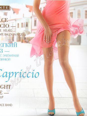 Чулки MiNiMi Capriccio 10Тонкие, летние чулки 10ден MiNiMi Capriccio с элегантной кружевной резинкой на силиконовой основе и невидимым мыском.<br>