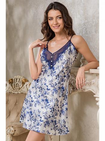 Сорочка Mia-Mia 9494Сорочка Mia-Mia 9494. Романтичная женская сорочка с кружевной вставкой на груди. Сорочку дополняют четыре перламутровые пуговицы.<br>