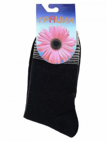 Носки Грация H-002Носки женские всесезонные Грация H-002. Комфортные носочки из хлопка с формованной стопой и удлиненной голенью. Верхняя часть изделия декорирована горизонтальными полосками.<br>