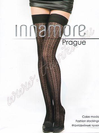 Чулки Innamore PragueМодные ажурные чулки с геометрическим рисунком, гладкая резинка на силиконовой основе.<br>