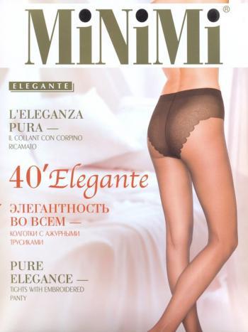Колготки MiNiMi Elegante 40Колготки 40 ден MiNiMi Elegante. Элегантные колготки на каждый день, с кружевными трусиками-бикини и ластовицей из хлопка.<br>